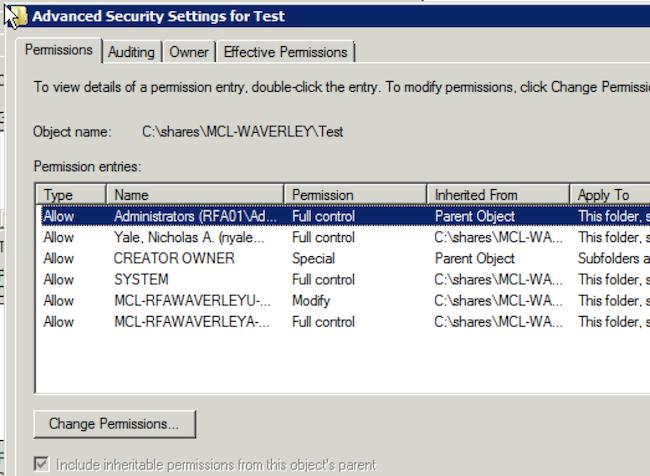 RFA Folder Permissions